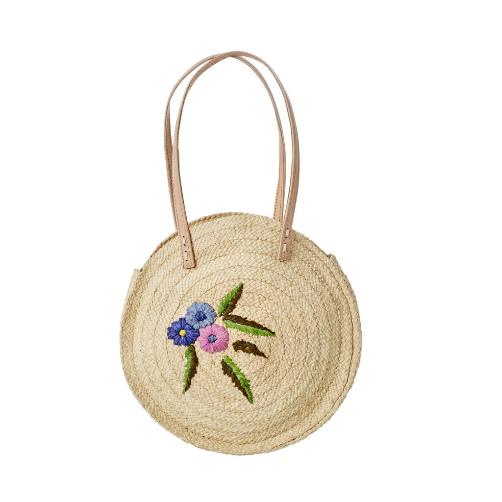 Schultertasche rund | Raffia Shoulder Bag with Flower Emboidery von rice