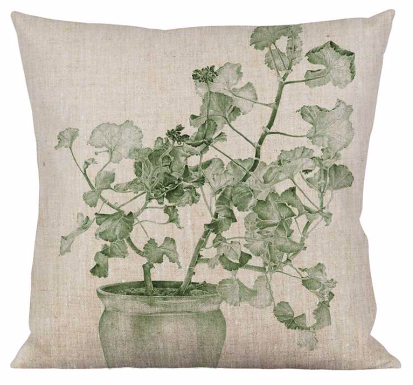 Kissenhülle Geranie grün | blau - Cushion Green | Blue Geranium