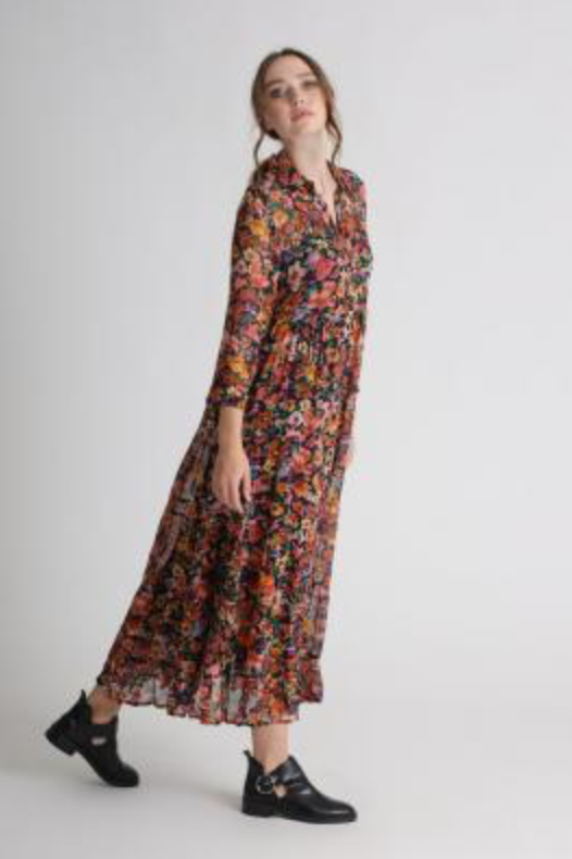 Kleid Midi Dress Flower all over - Frogbox