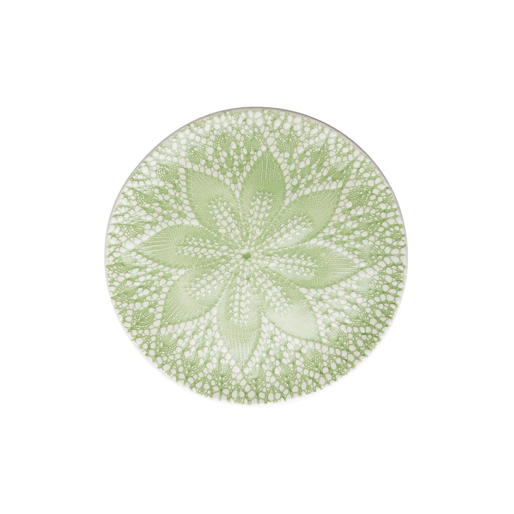 Plate Ceramic Green Embossing - Pastell Green