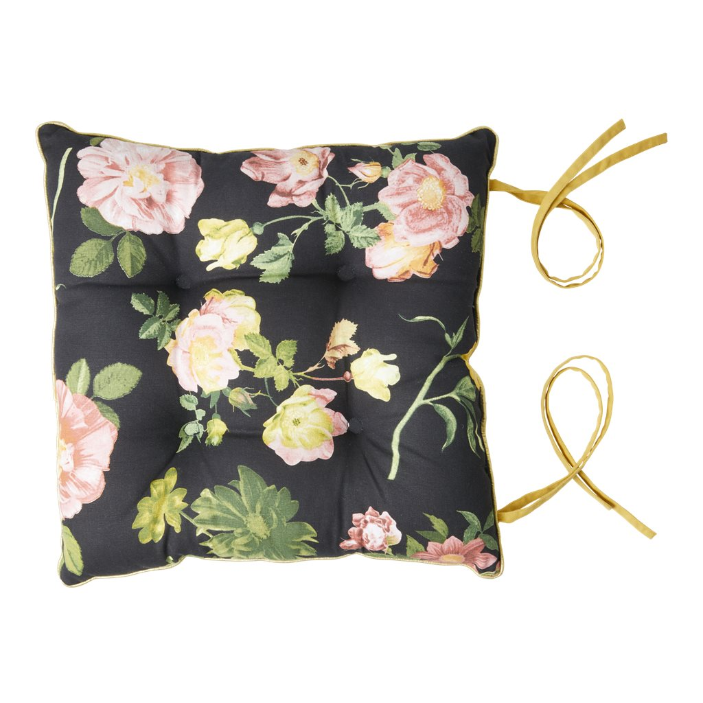 Stuhlkissen Rose auf schwarz mit Goldpaspel - Chair Cushion with Dark Rose Print - gold Piping