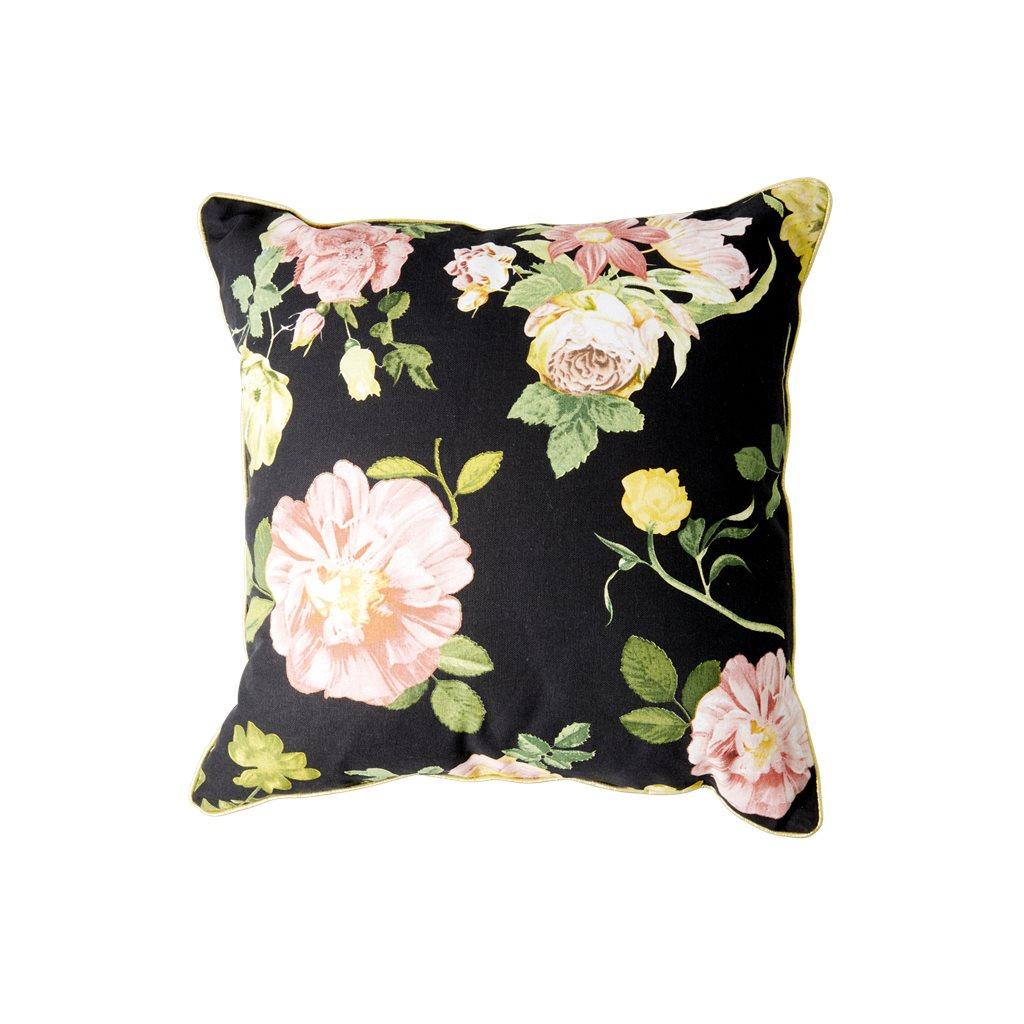 Kissen Rose auf schwarz mit Goldpaspel - Cushion with Dark Rose Print - gold Piping