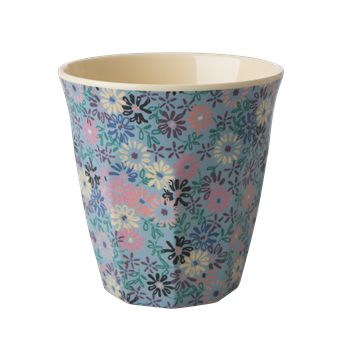Becher geblümt blau - Melamin Cup Small Flower blue
