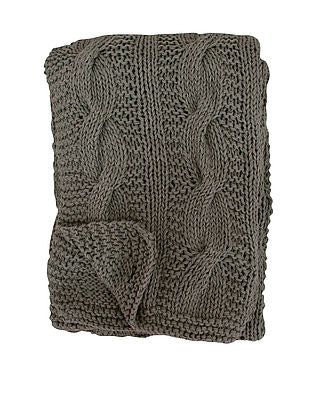 Decke Strick Schokobraun - Blanket knitted Chocolate