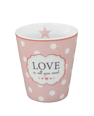 "Becher mit Schriftzug ""Love is all you need"" - Happy Mug - rosa mit Punkten"