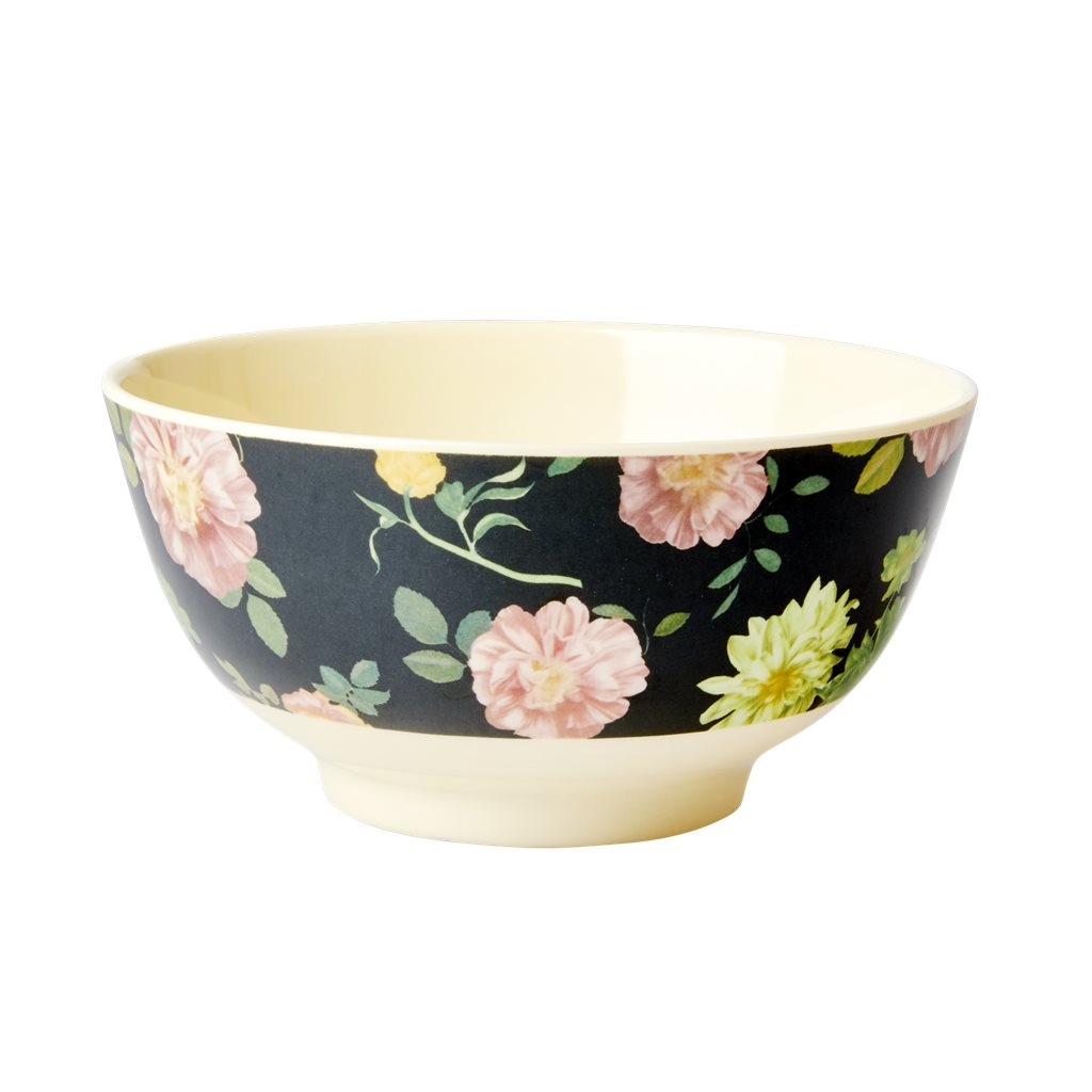 Schüssel Melamin mit Rose - Medium | Melamine Bowl with Dark Rose Print