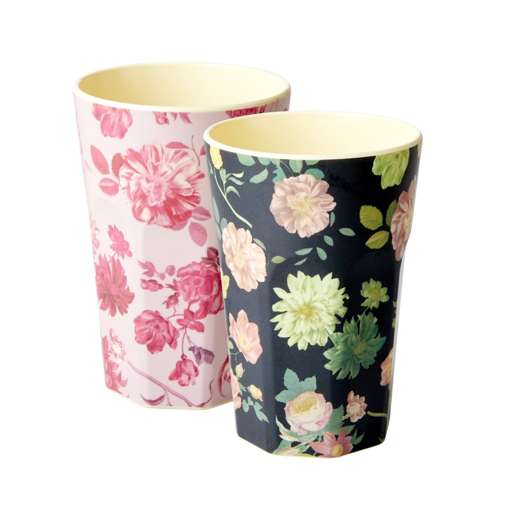 2 Becher-Set: hoch mit Blumen Pink und Rose schwarz Druck im Set | Tall Cups Latte Melamin with Pink and Dark Flower Print