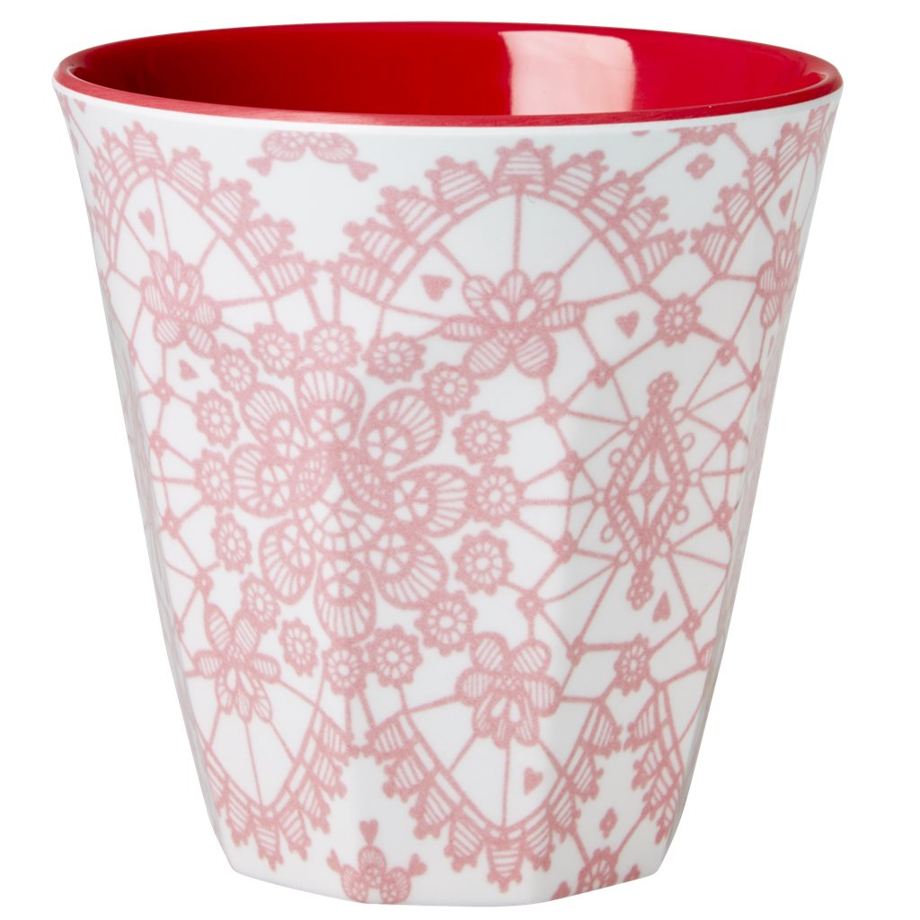 Becher mit rosa Spitzenmuster - Melamin Cup Lace Print