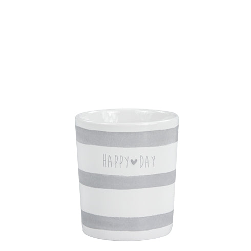 "Becher grau gestreift mit Herz - Schriftzug ""Happy Day"" - Mug Happy Stripes Heart Grey - Little Heart"