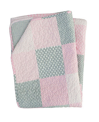 Plaid Decke Quilt in rosa grau Patchworkmuster