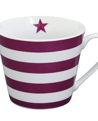 Becher mit Henkel Happy Cup - gestreift bordeauxrot - Striped Plum