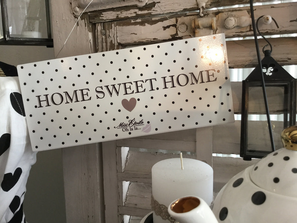 "Metallschild Metal sign ""Home sweet home"" gepunktet mit Herz"