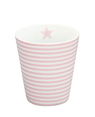 Becher schmal weiss rosa gestreift | Happy Mug Stripes Thin pink