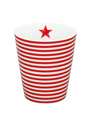 Becher schmal weiss rot gestreift - Happy Mug Stripes Thin red