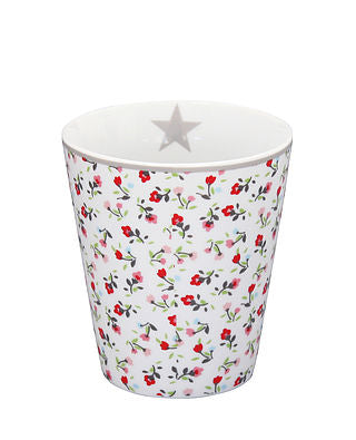 Becher geblümt weiss rot bunt - Happy Mug White Flowers