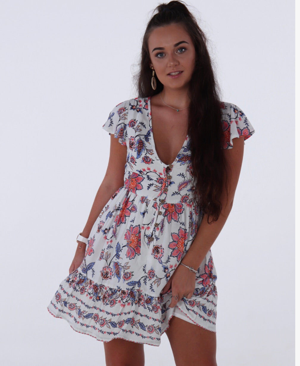 I'm About You Dress - White Floral