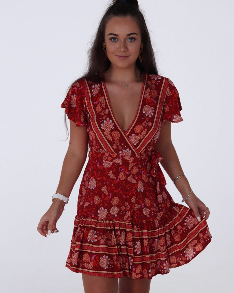 Girl Code Wrap Dress - Red Print