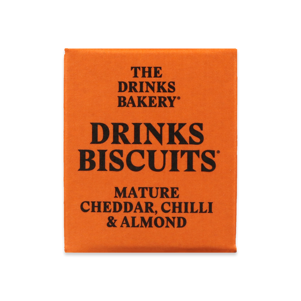 THE DRINKS BAKERY BISCUITS - Mature Cheddar Chilli & Almond Biscuits - 3x8 SRP 20g packs - Snack Revolution