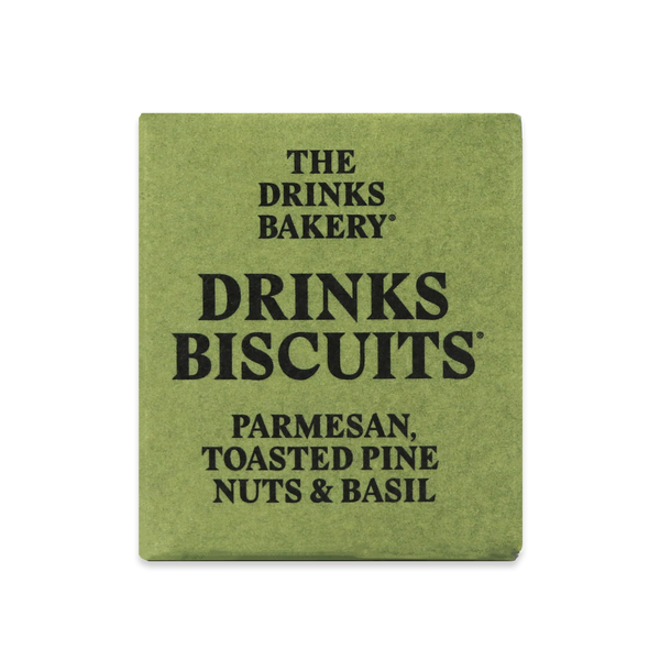 THE DRINKS BAKERY BISCUITS - Parmesan Toasted Pine Nuts & Basil Biscuits - 3x8 SRP 20g packs - Snack Revolution