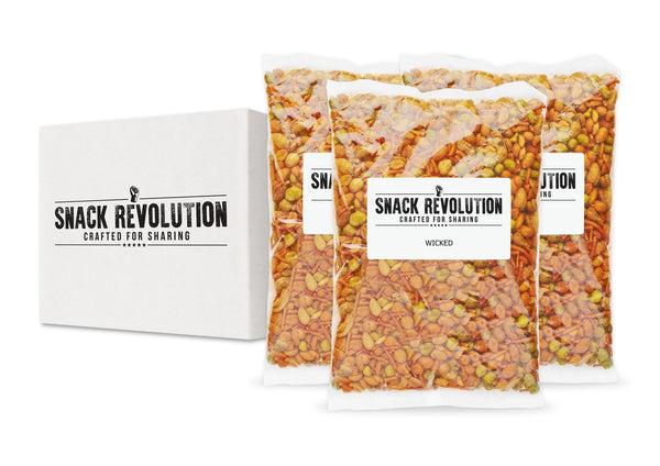 BULK NUTS - WICKED - Wasabi, Spicy Cashew, Bombay Mix & Chilli Peanuts - Snack Revolution