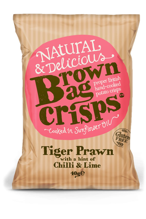 Brown Bag Crisps - Tiger Prawn with Chilli and Lime - Snack Revolution