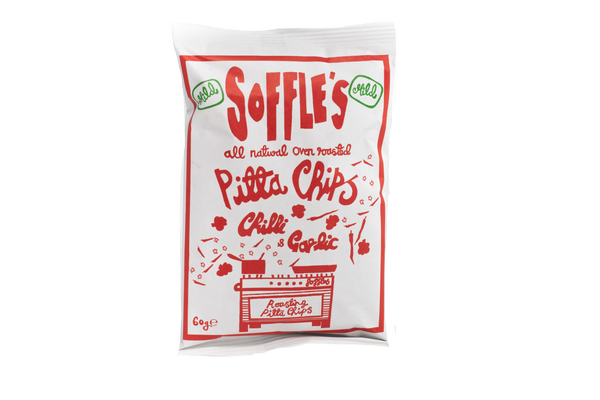 Soffles - Chilli & Garlic MILD Pitta Chips - ZERO VAT - Snack Revolution