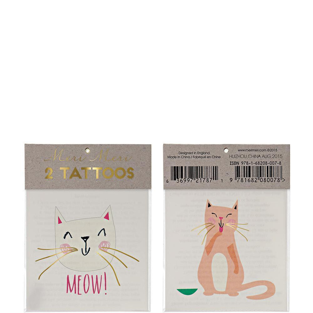 Tattoo-Set KATZEN, gold, Meri Meri