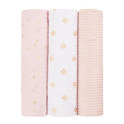 Classic Swaddle 120x 120cm, 3er Set gold/rose, Aden + Anais