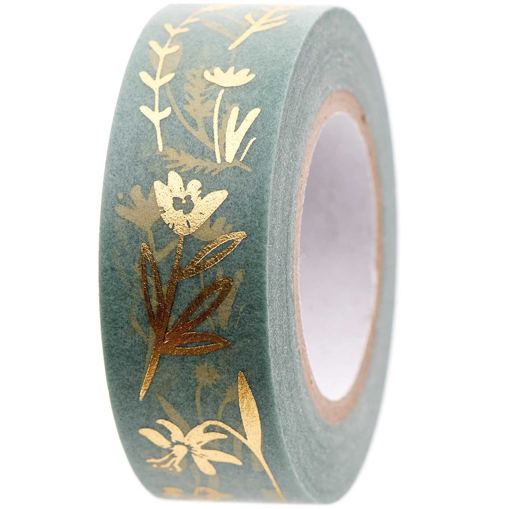 Masking-Tape STREUBLUMEN mint/ gold