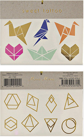 Tattoo-Set ORIGAMI, gold von Meri Meri