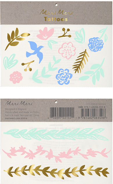 Tattoo-Set PASTEL LEAF von Meri Meri