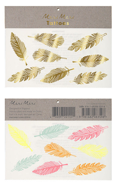 Tattoo-Set FEDERN, gold + neon, Meri Meri