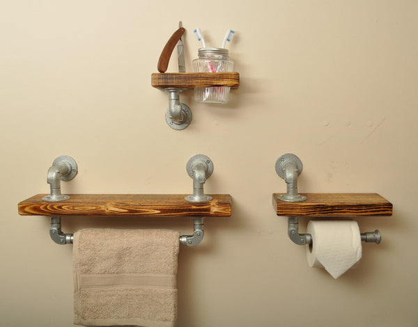Industrial Style Bathroom Shelf Set
