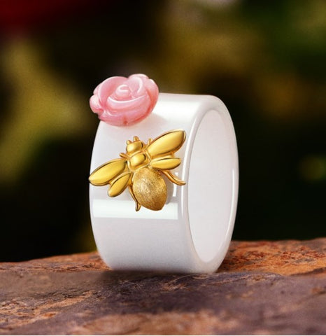Bee Kissed Rose Ring