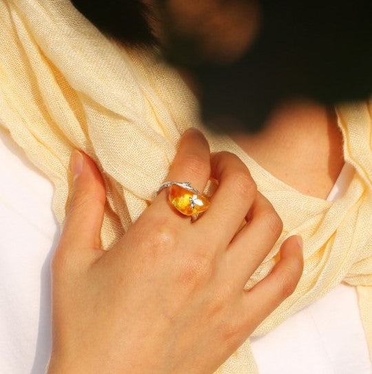 Amber Gold Gemcorn Butterfly Ring