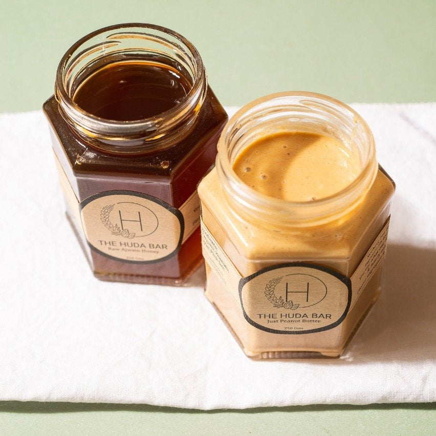 Raw Ajwain Honey and Creamy Peanut Butter Package