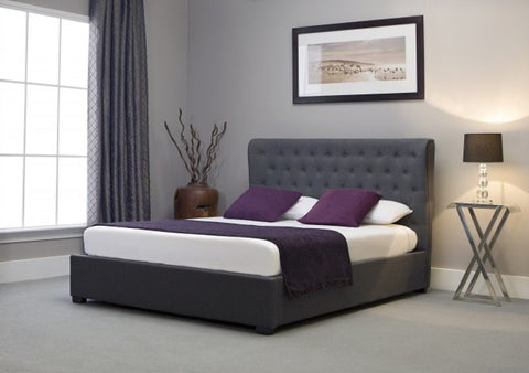 Emporia Beds Kensington Wing Back Ottoman Grey Fabric Bed