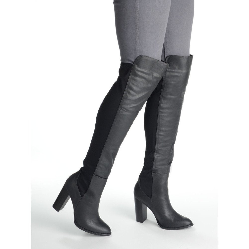 Knee Suede Boot with Stretch Lycra