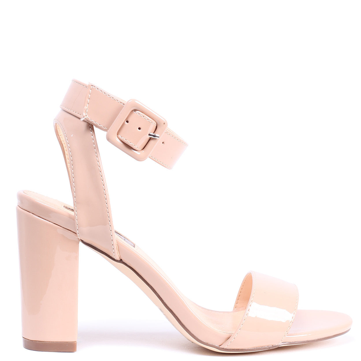 396976795728 Mocha Patent Open Toe Block Heel With Ankle Strap And Buckle Detail ...