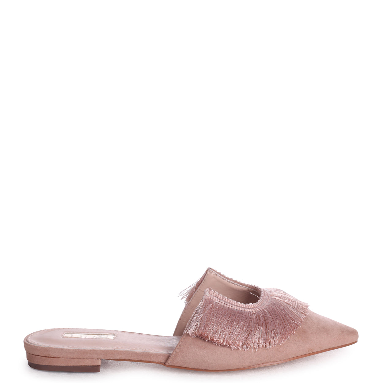 04d1ff3ca64 Nude Suede Pointed Slip On Mule With Fringe Detail – Linzi