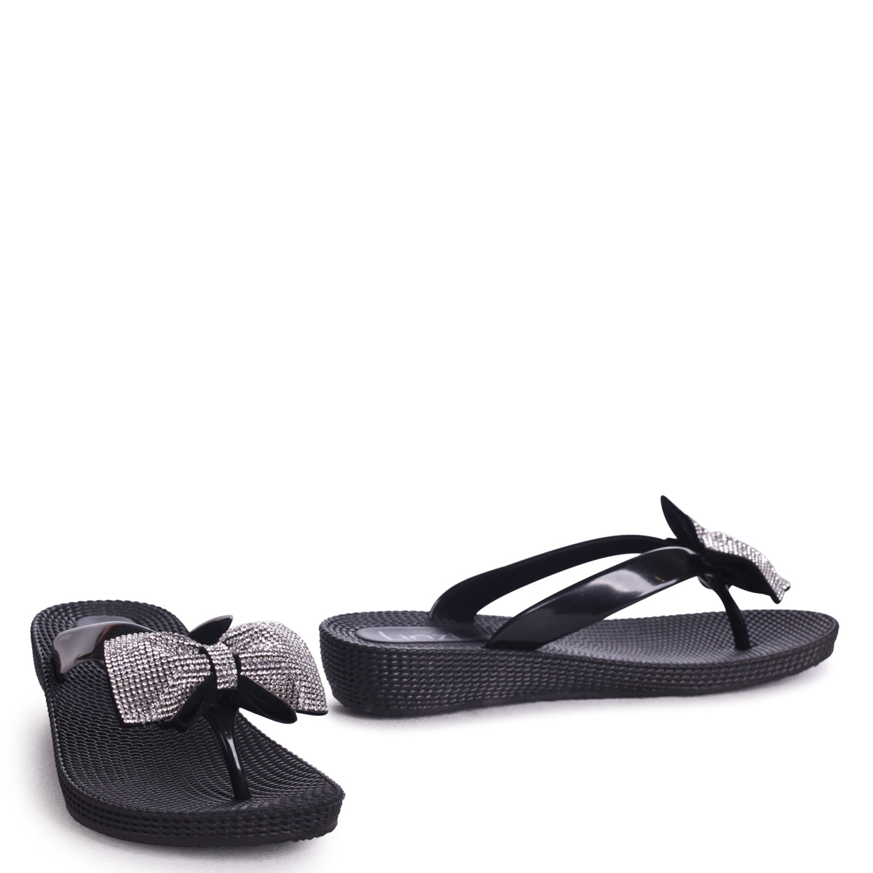 5bbaee329 Black Wedged Jelly Flip Flop With Diamante Bow – Linzi