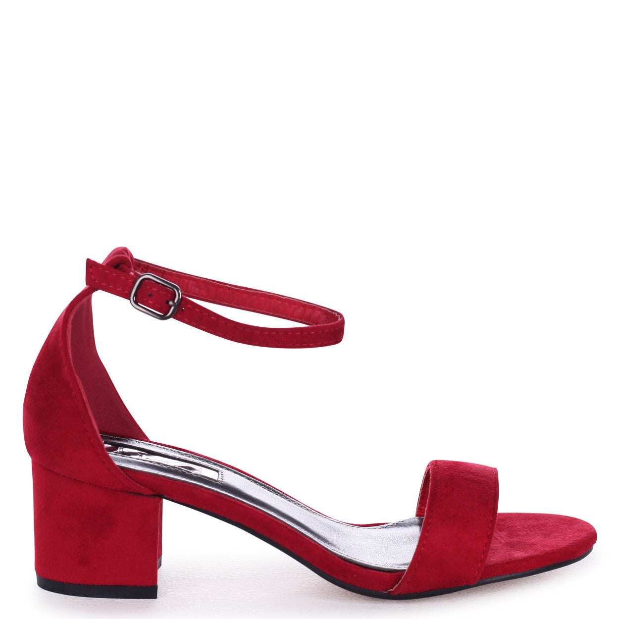 7dcb853e940 Red Suede Barely There Block Heeled Sandal – Linzi