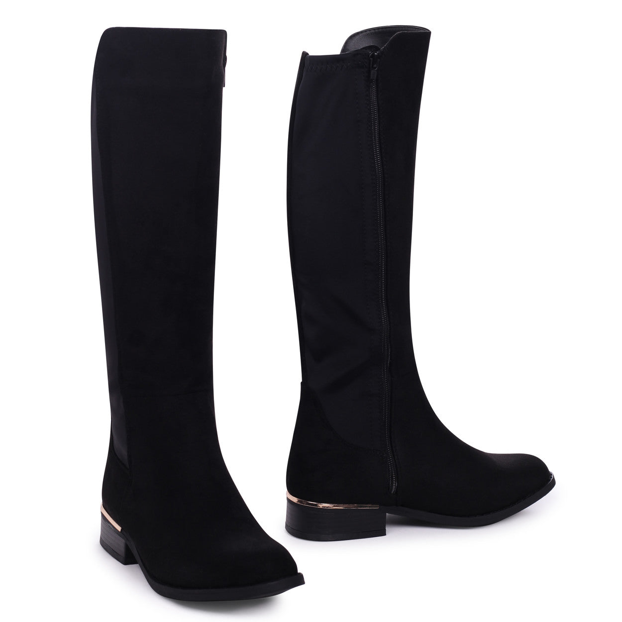 a6636ee0a Black Suede Half Lycra Stretch Boot with Metal Heel Trim – Linzi