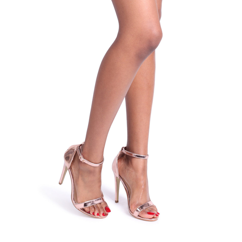 Rose Gold Chrome Single Sole Barely There Heeled Sandal