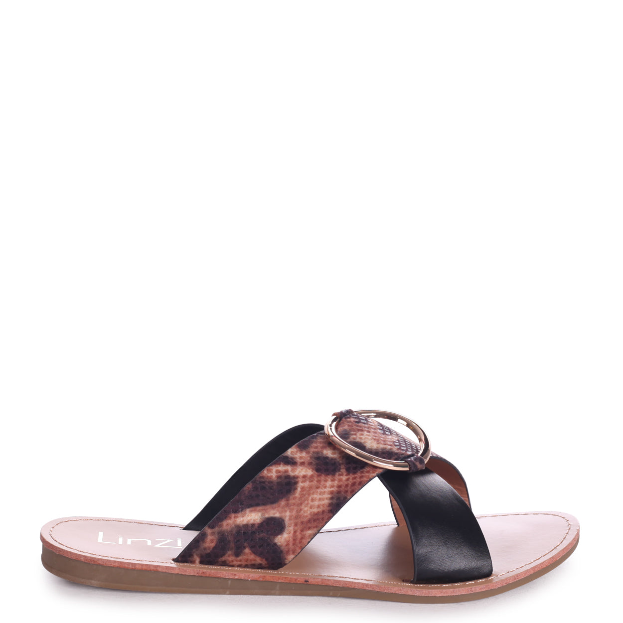 3e02fc2a2309 Leopard Print Slip On Slider With Crossover Front Strap & Ring ...