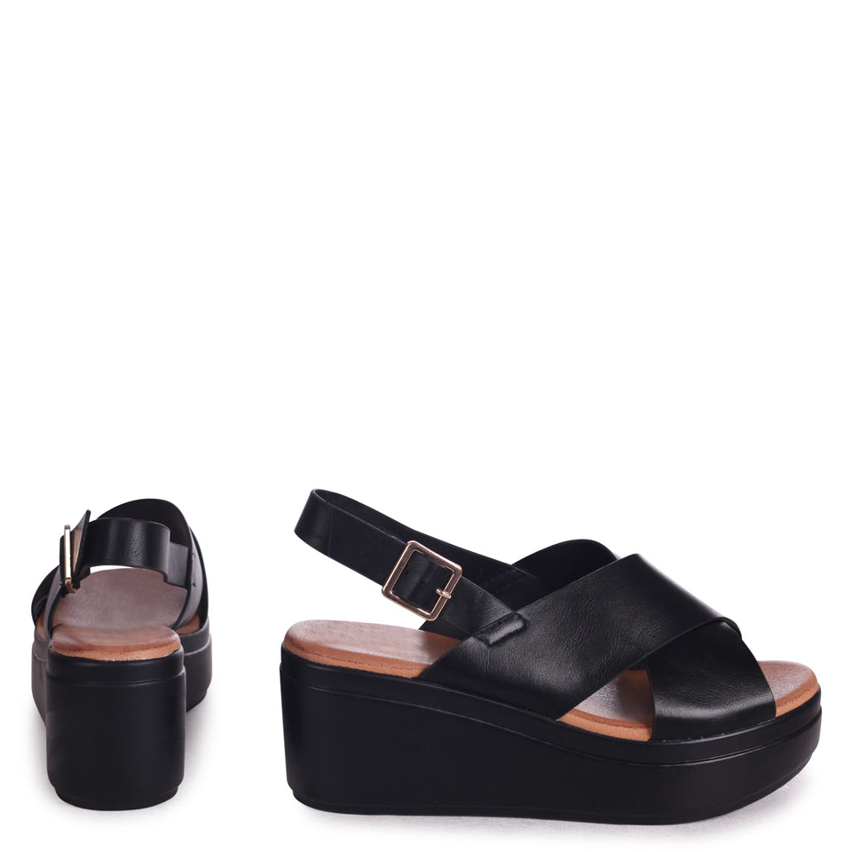a4972d8e9f White Lightweight Wedge Sandal With Crossover Front Strap – Linzi