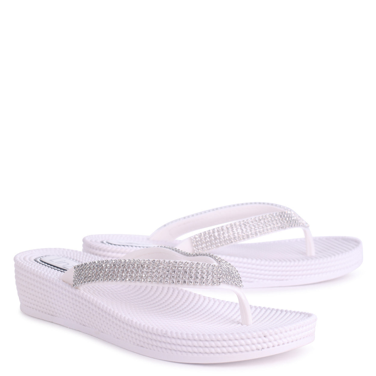 0fa59f7aee55 White Wedged Jelly Flip Flop With Diamante Embellished Strap – Linzi