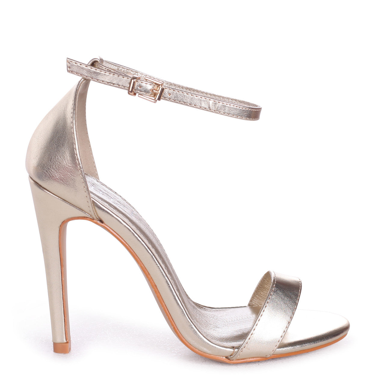 55f327fc45c731 Gold Single Sole Barely There Heeled Sandal – Linzi