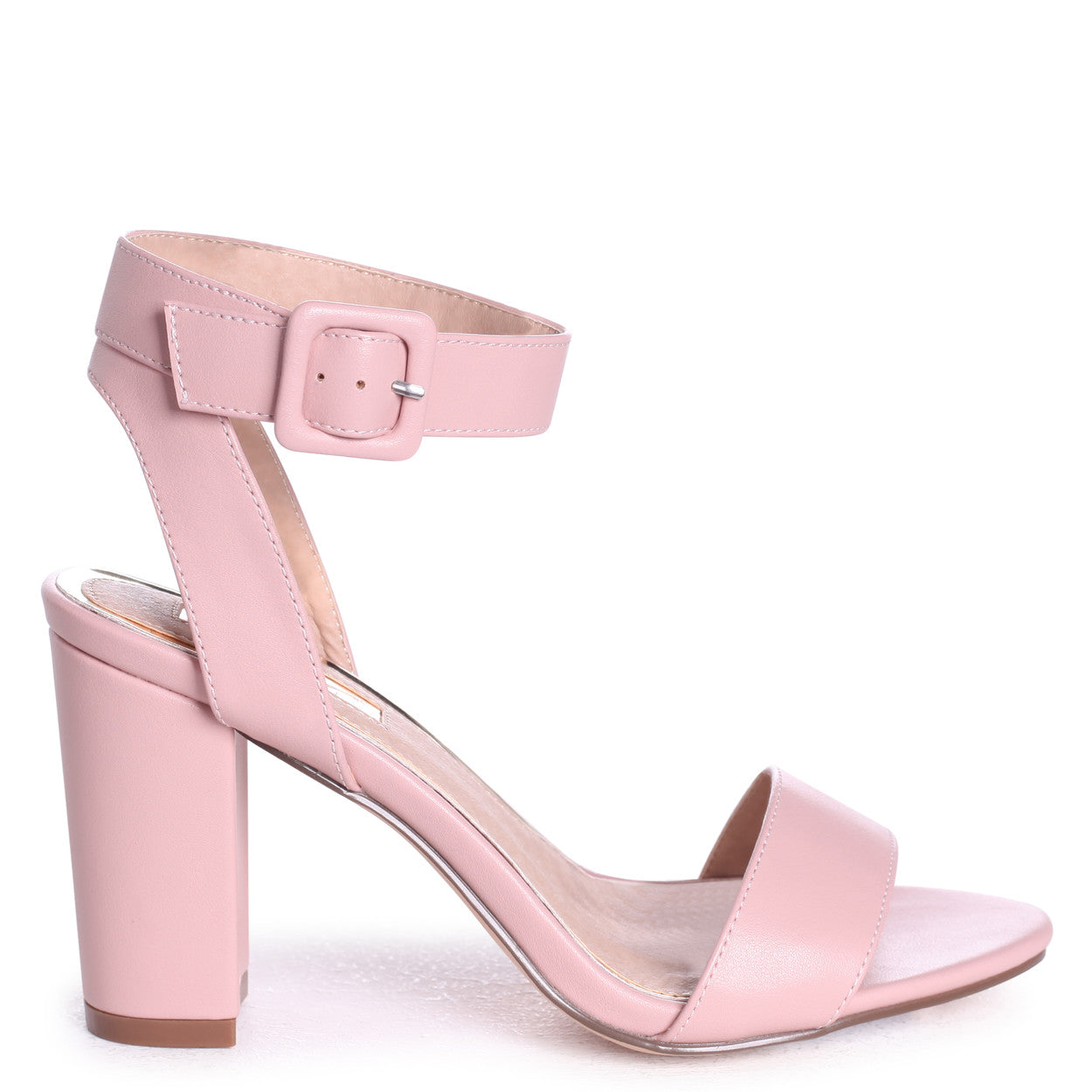 753bbbc04c1 Dusky Pink Open Toe Block Heel With Ankle Strap And Buckle Detail ...