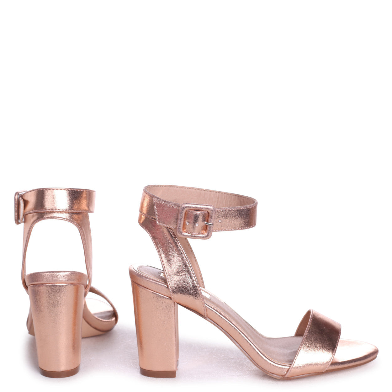 0175bb5151c Rose Gold Metallic Open Toe Block Heel With Ankle Strap And Buckle ...